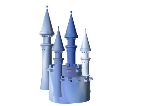 3D illustration of a blue marble castle battlement isolated over whilte