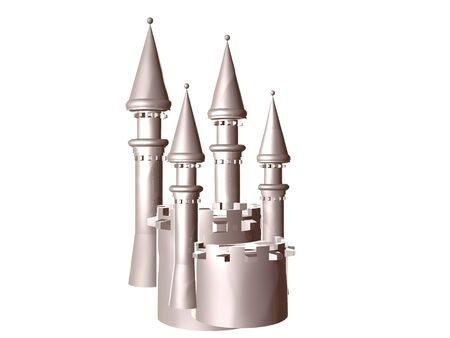 3D illustration of a silver castle battlement isolated over whilte Stockfoto - 9296461