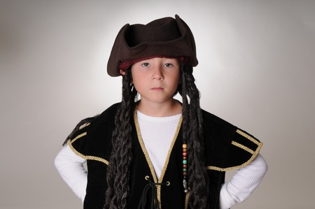 Boy Pirate isolated on black white Imagens