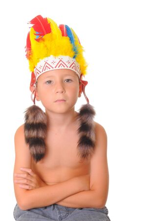 Young boy dressed as an American Indian for Halloween photo