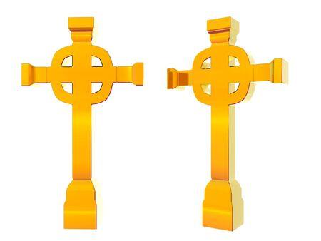 3 D のペア示す黄金の十字架