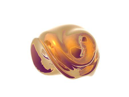 3D Illustration of a golden sea shell