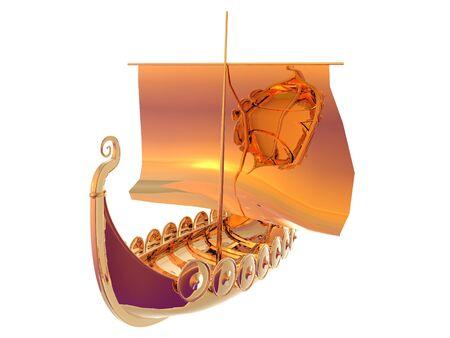 3D illustration of a golden viking ship isolated on white