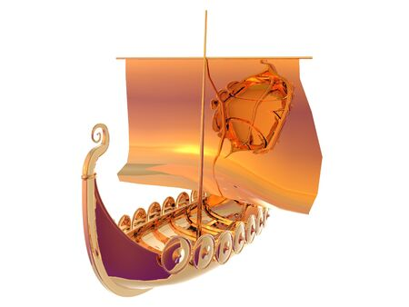 3d boat: 3D illustration of a golden viking ship isolated on white