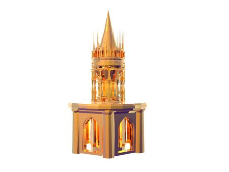 3D illustration of a gold castle battlement isolated over whilte