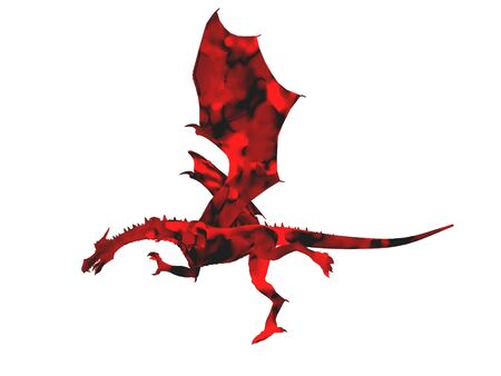 3D illustration of a red dragon isolated on white