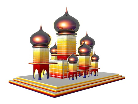 3D illustration of the Taj Mahal isolated over white