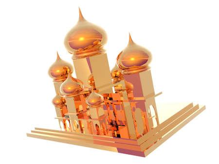 3D illustration of gold Taj Mahal isolated over white