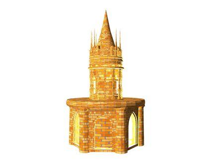 3D illustratie van een battlement van het steenkasteel dat over whilte wordt geïsoleerd Stockfoto