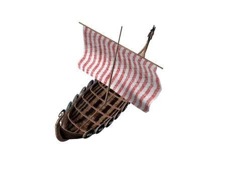 3D illustration of a viking ship isolated on white