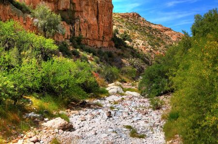 Dry and rocky river bed in the desert Stock Photo - 9505269
