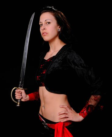 girl with knife: A lovely pirate girl with a sword