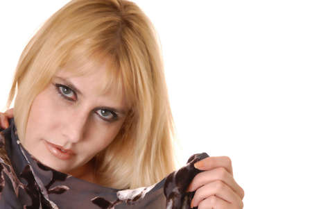 tough: Portrait of a young and tough blond girl Stock Photo