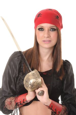 mujer pirata: Una chica hermosa pirata con una espada