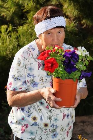 tending: A Senior woman tending to a hibiscus