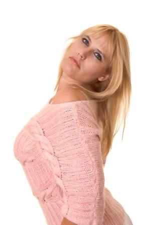 Più bella ragazza bionda dimensione isolato over white Archivio Fotografico - 9652565