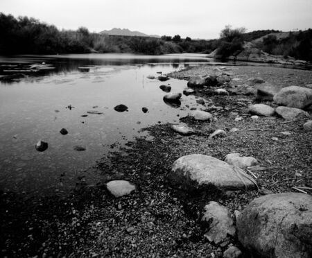 River in the winter Arizona desert mountains