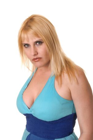 Plus size lovely blond girl isolated over white photo