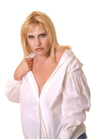 tough: Plus size lovely blond girl isolated over white