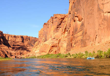 rafters: A group of rafters on the Colorado River Stock Photo