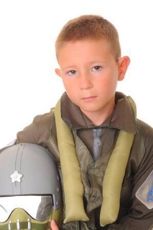 Boy pilot halloween costume isolated on white