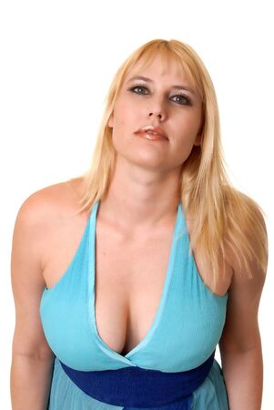 Plus size lovely blond girl isolated over white Stock Photo - 9723597