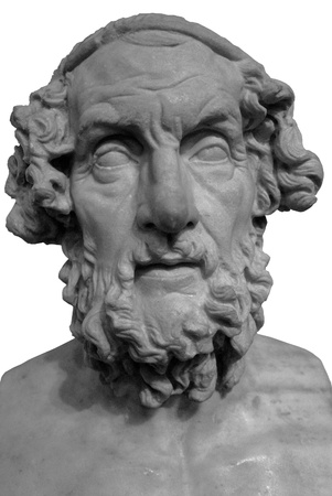 Bust of an ancient greek in black and white photo