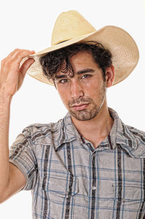 Young boy wearing a cowboy hat isolated on white Stock Photo - 9723940
