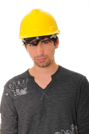 A Young Construction Worker isolated over white Stock Photo - 9723871