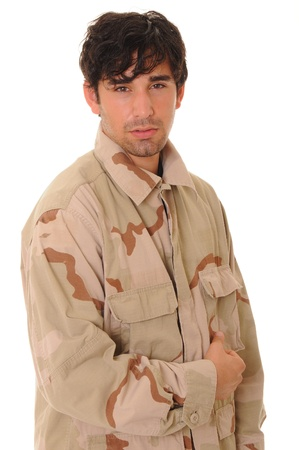 rifleman: Young soldier wearing desert camoflage isolated over white
