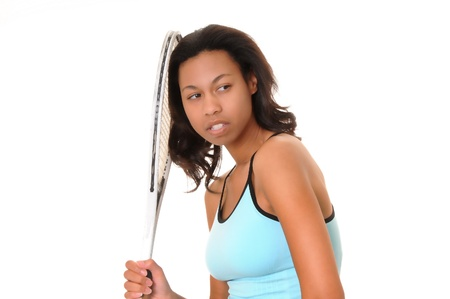 african american woman: Lovely african american girl with tennis racket
