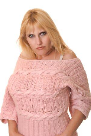 Pi? bella ragazza bionda dimensione isolato over white Archivio Fotografico - 9723854