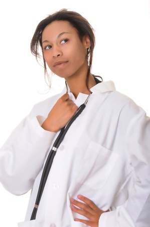 African American doctor or nurse isolated over white photo