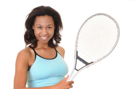 Lovely African American girl with a tennis racket photo