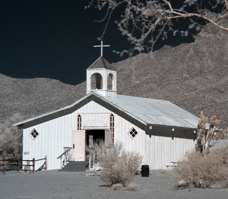 Old western style church in the desert photo