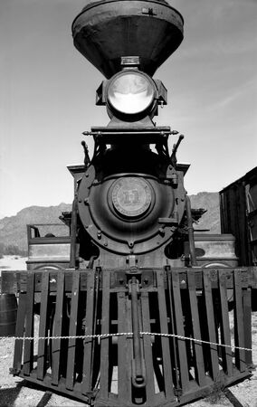 footplate: Old railroad steam engine Stock Photo