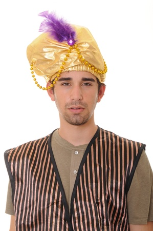 Young sultan or sheik isolated over white photo