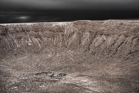 Storm approaching Meteor Crater in Arizona