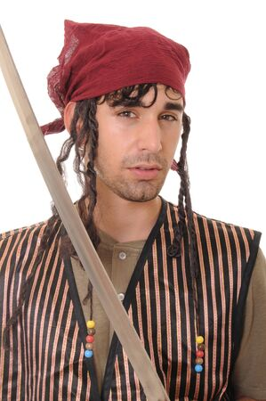 Young man with sword dressed like a pirate
