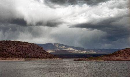 roosevelt: Storm clouds forming over Roosevelt lake Arizona Stock Photo