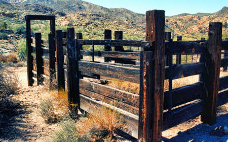 Old Arizona corral in the desert mountains 