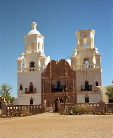 jesuit: San Xavier - Old spanish mission in southern Arizona - 33 megapixel image shot on film - as scanned edge cropping and spotting only. Film grain apparent at this large size Editorial