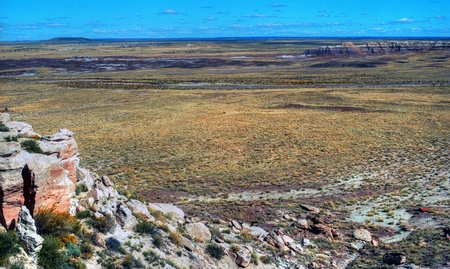 apparent: The Painted Desert - 26 megapixel image shot on film - as scanned edge cropping and spotting only. Film grain apparent at this large size Stock Photo