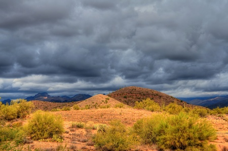 new mexico: Desert storm over the southwestern desert and mountains  Stock Photo