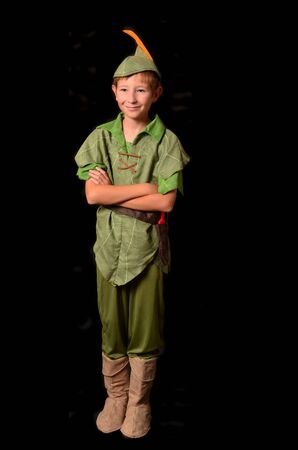 peter: Young boy dressed up in peter pan costume   Stock Photo