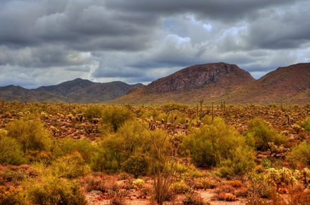 Desert storm over the southwestern desert and mountains