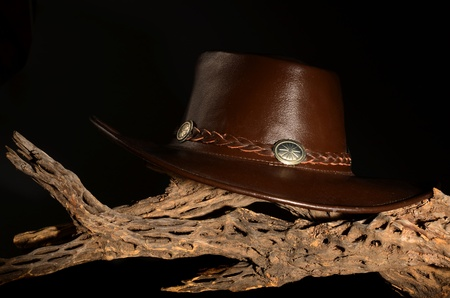 cholla: Cowboy hat isolated over black on Cholla Stock Photo