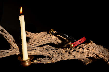 Candle and spurs resting on cholla isolated over black