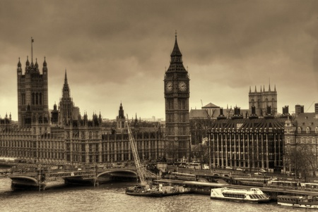 houses of parliament   london: Aerial view of London England in old time sepia tone photography