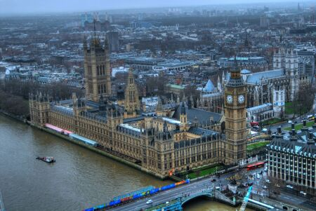 steel bridge: High vantage point Aerial view of London England